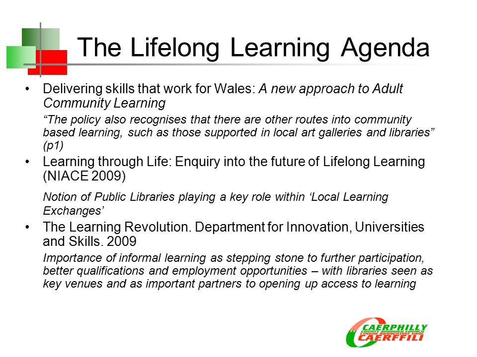 The Lifelong Learning Agenda Delivering skills that work for Wales: A new approach to Adult Community Learning The policy also recognises that there are other routes into community based learning, such as those supported in local art galleries and libraries (p1) Learning through Life: Enquiry into the future of Lifelong Learning (NIACE 2009) Notion of Public Libraries playing a key role within 'Local Learning Exchanges' The Learning Revolution.