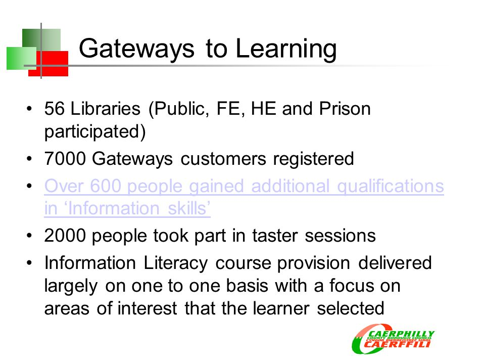 Gateways to Learning 56 Libraries (Public, FE, HE and Prison participated) 7000 Gateways customers registered Over 600 people gained additional qualifications in 'Information skills'Over 600 people gained additional qualifications in 'Information skills' 2000 people took part in taster sessions Information Literacy course provision delivered largely on one to one basis with a focus on areas of interest that the learner selected