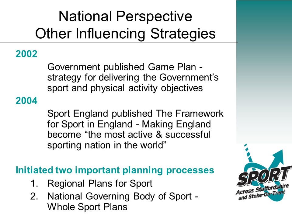 National Perspective Other Influencing Strategies 2002 Government published Game Plan - strategy for delivering the Government's sport and physical activity objectives 2004 Sport England published The Framework for Sport in England - Making England become the most active & successful sporting nation in the world Initiated two important planning processes 1.Regional Plans for Sport 2.National Governing Body of Sport - Whole Sport Plans