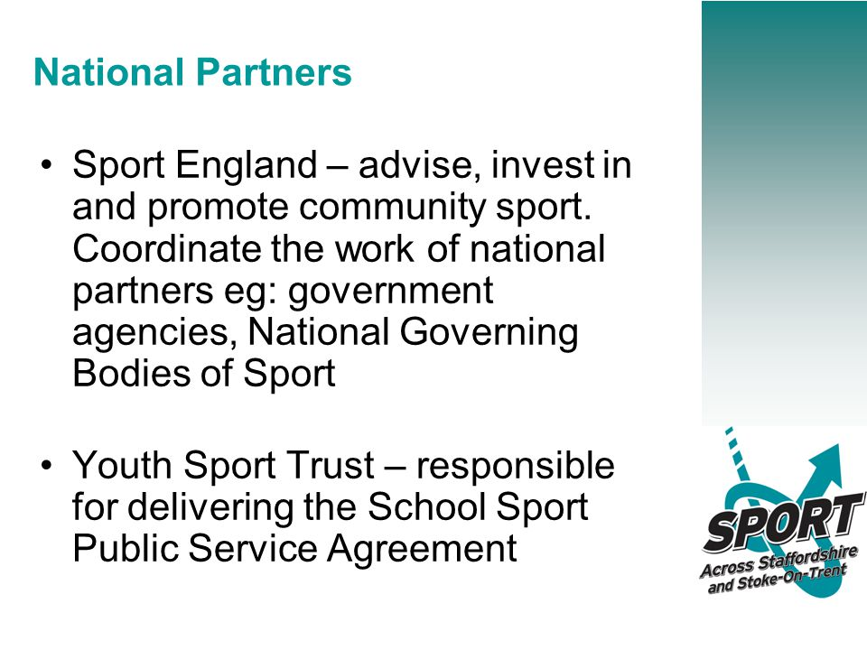 National Partners Sport England – advise, invest in and promote community sport.