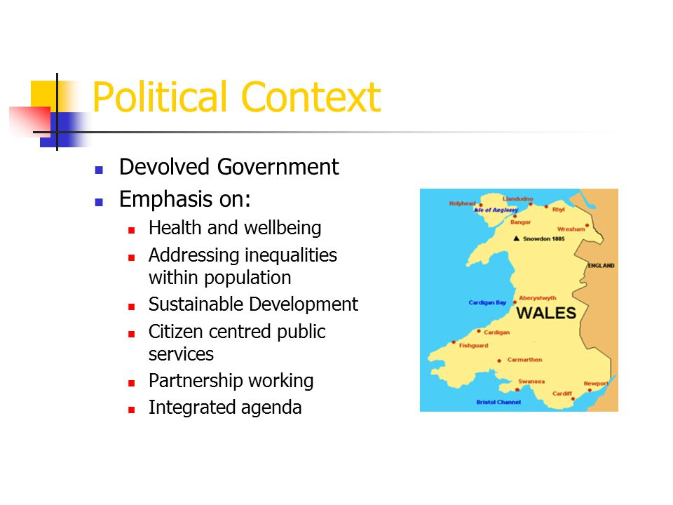 Drivers for HIA in Planning Wales: A Better Country Development of Welsh Public Health Strategic Framework – CMO advocate of HIA Making the Connections Consideration of Health in All Policies SEA/EIA - consideration of 'human health' and 'population health' DMIPPS02/2006 – Planning, Health and Well- being'