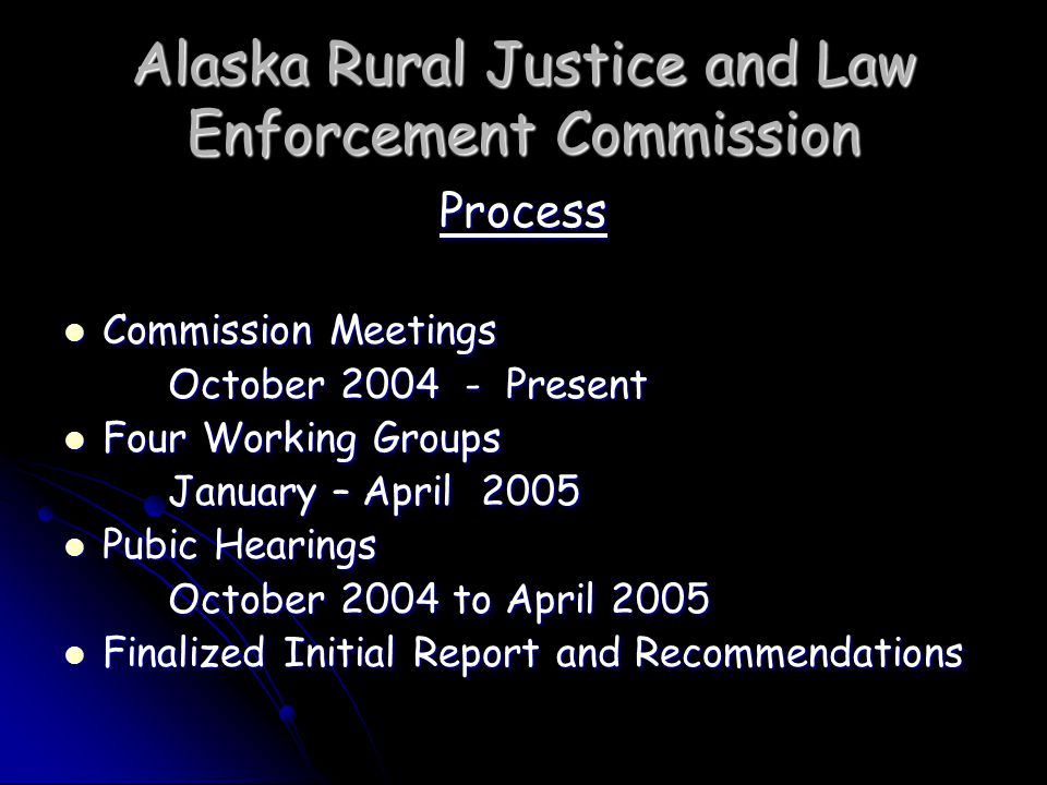 Alaska Rural Justice and Law Enforcement Commission Change state law to help law enforcement reduce importation of alcohol into dry villages Change state law to help law enforcement reduce importation of alcohol into dry villages Change state law to better clarify definition of manufacture of alcoholic beverages; remove inconsistencies in existing laws re quantities of alcohol that constitute violations; expand forfeiture and seizure provisions; ban written order sales to dry or damp villages; and establish alcohol distribution sites such as that in Barrow Change state law to better clarify definition of manufacture of alcoholic beverages; remove inconsistencies in existing laws re quantities of alcohol that constitute violations; expand forfeiture and seizure provisions; ban written order sales to dry or damp villages; and establish alcohol distribution sites such as that in Barrow