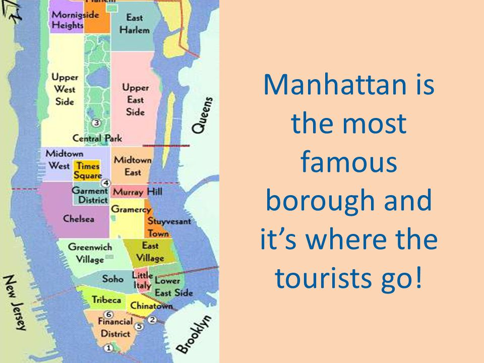 New York has five boroughs: Manhattan, Brooklyn, the Bronx, Queens and Staten Island