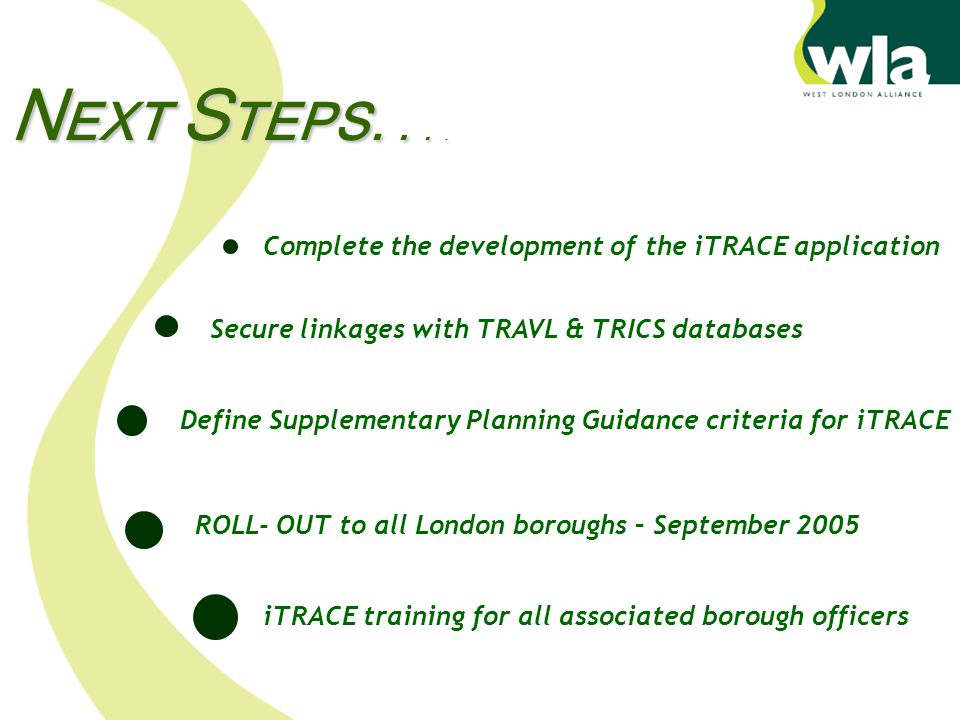 Complete the development of the iTRACE application Secure linkages with TRAVL & TRICS databases Define Supplementary Planning Guidance criteria for iTRACE ROLL- OUT to all London boroughs – September 2005 iTRACE training for all associated borough officers N EXT S TEPS....