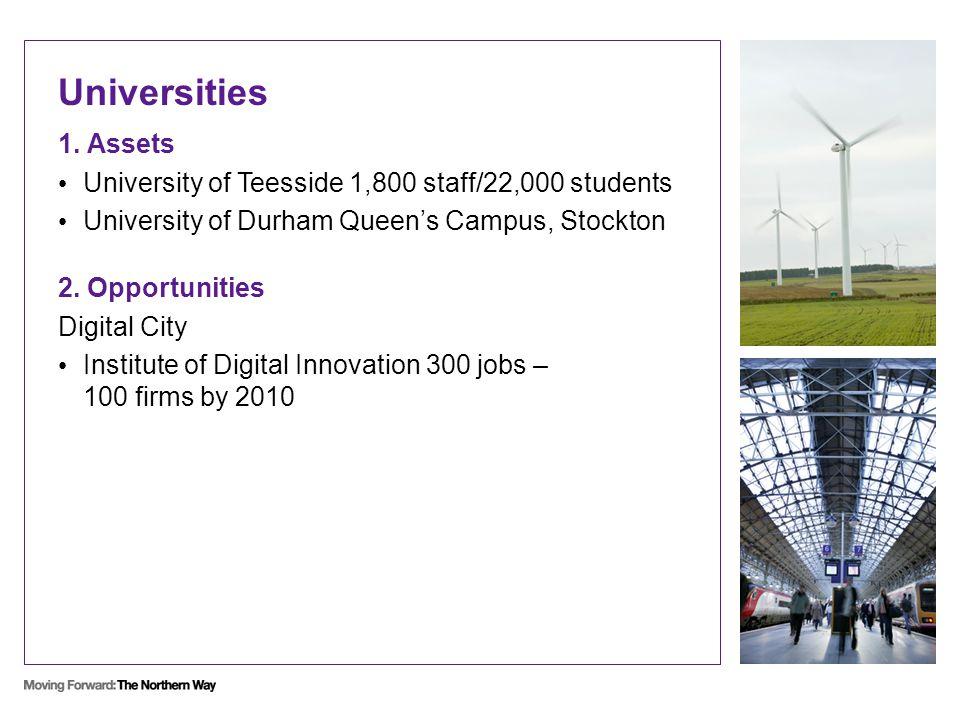 Universities 1. Assets University of Teesside 1,800 staff/22,000 students University of Durham Queen's Campus, Stockton 2. Opportunities Digital City