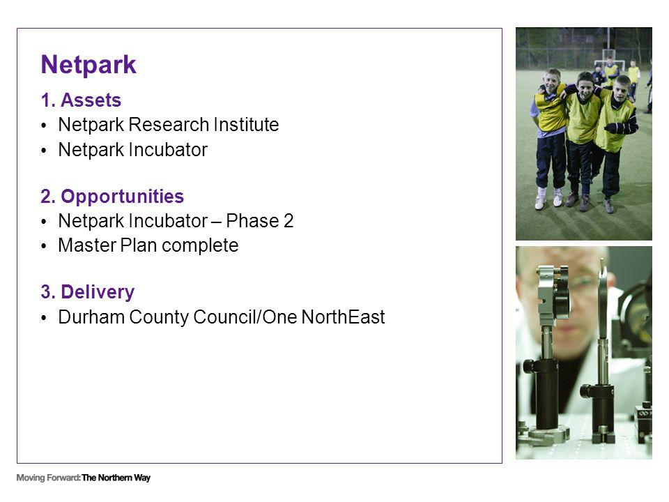 Netpark 1. Assets Netpark Research Institute Netpark Incubator 2. Opportunities Netpark Incubator – Phase 2 Master Plan complete 3. Delivery Durham Co