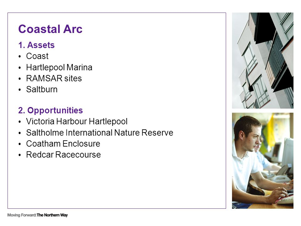 Coastal Arc 1. Assets Coast Hartlepool Marina RAMSAR sites Saltburn 2.