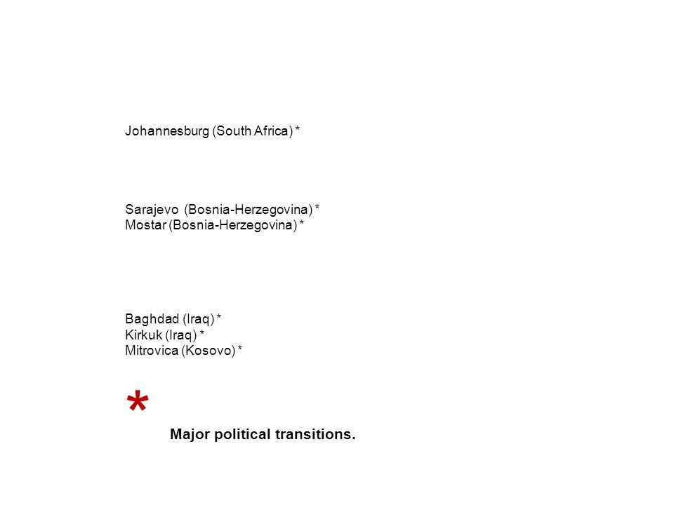 Johannesburg (South Africa) * Sarajevo (Bosnia-Herzegovina) * Mostar (Bosnia-Herzegovina) * Baghdad (Iraq) * Kirkuk (Iraq) * Mitrovica (Kosovo) * * Major political transitions.