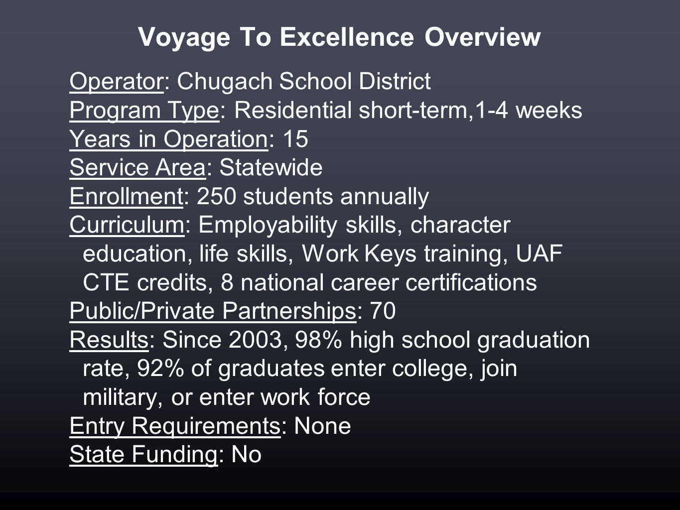 Voyage To Excellence Overview Operator: Chugach School District Program Type: Residential short-term,1-4 weeks Years in Operation: 15 Service Area: St