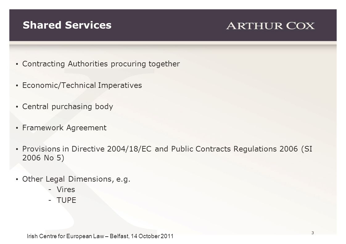 3 Irish Centre for European Law – Belfast, 14 October 2011 Contracting Authorities procuring together Economic/Technical Imperatives Central purchasin