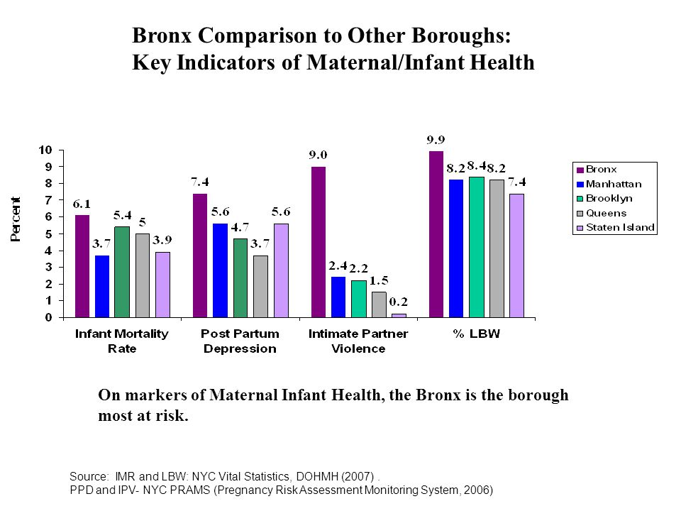 Bronx Comparison to Other Boroughs: Key Indicators of Maternal/Infant Health Source: IMR and LBW: NYC Vital Statistics, DOHMH (2007).