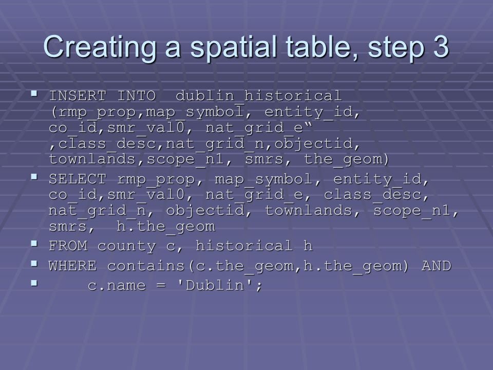 Creating a spatial table, step 3  INSERT INTO dublin_historical (rmp_prop,map_symbol, entity_id, co_id,smr_val0, nat_grid_e ,class_desc,nat_grid_n,objectid, townlands,scope_n1, smrs, the_geom)  SELECT rmp_prop, map_symbol, entity_id, co_id,smr_val0, nat_grid_e, class_desc, nat_grid_n, objectid, townlands, scope_n1, smrs, h.the_geom  FROM county c, historical h  WHERE contains(c.the_geom,h.the_geom) AND  c.name = Dublin ;