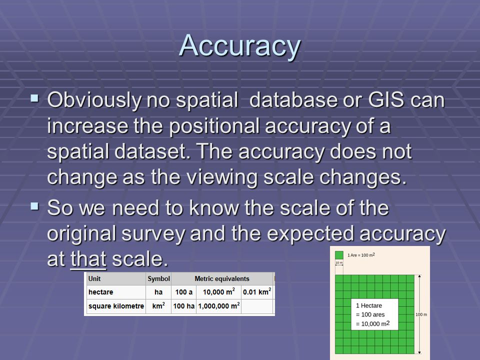 Accuracy  Obviously no spatial database or GIS can increase the positional accuracy of a spatial dataset.