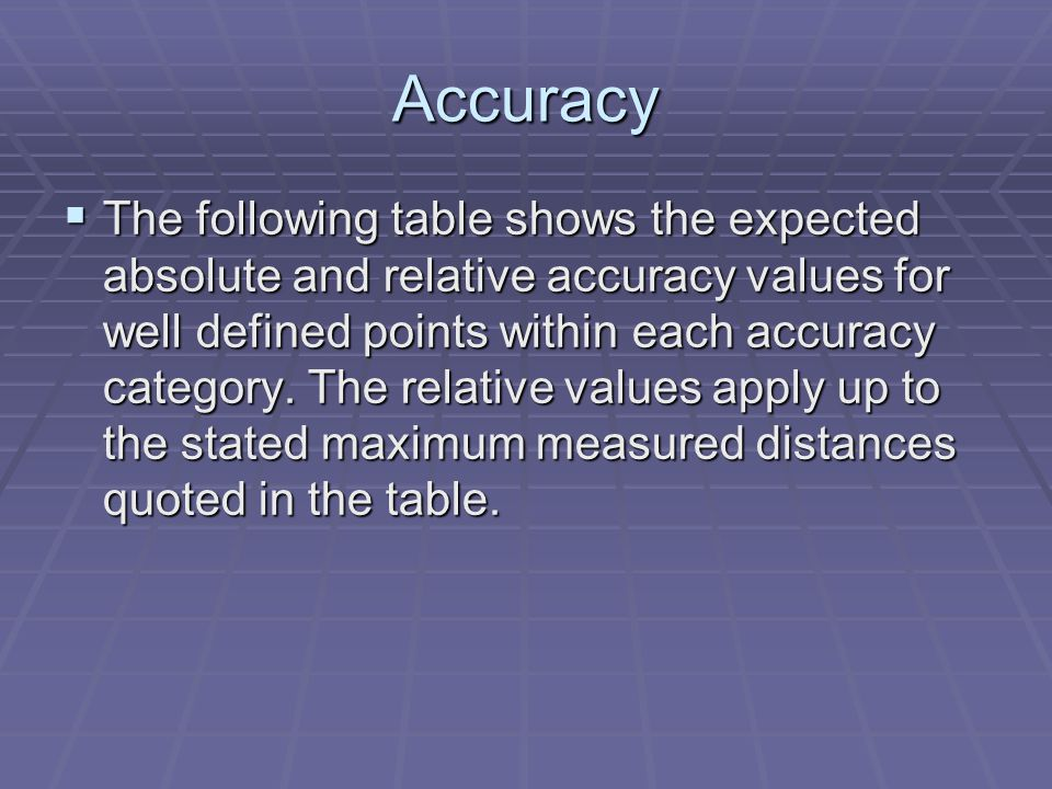 Accuracy  The following table shows the expected absolute and relative accuracy values for well defined points within each accuracy category.