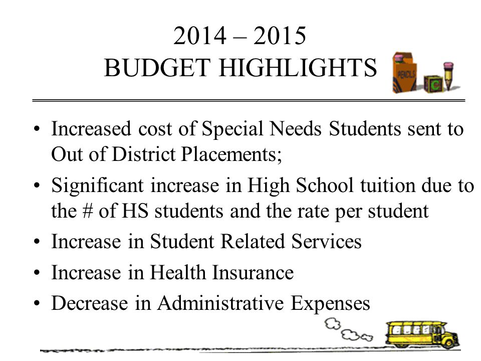 2014 – 2015 Expenditures High School Costs –Tuition – Public Schools$2,371,605 - Tuition-Vocational HS 60,000 –Transportation 89,000 Special Education Out of District –Tuition & Services$1,431,406 –Transportation 142,000 Total Out of District Expenses $4,094,011