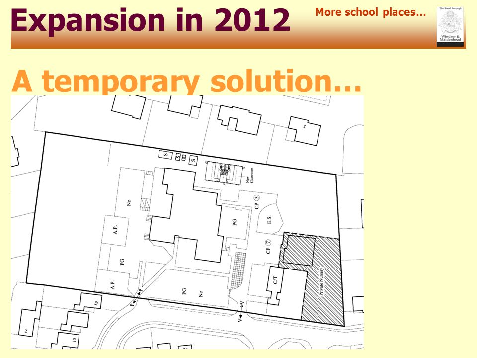 Expansion in 2012 More school places… A temporary solution…