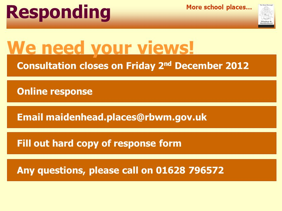 Responding Consultation closes on Friday 2 nd December 2012 More school places… We need your views.