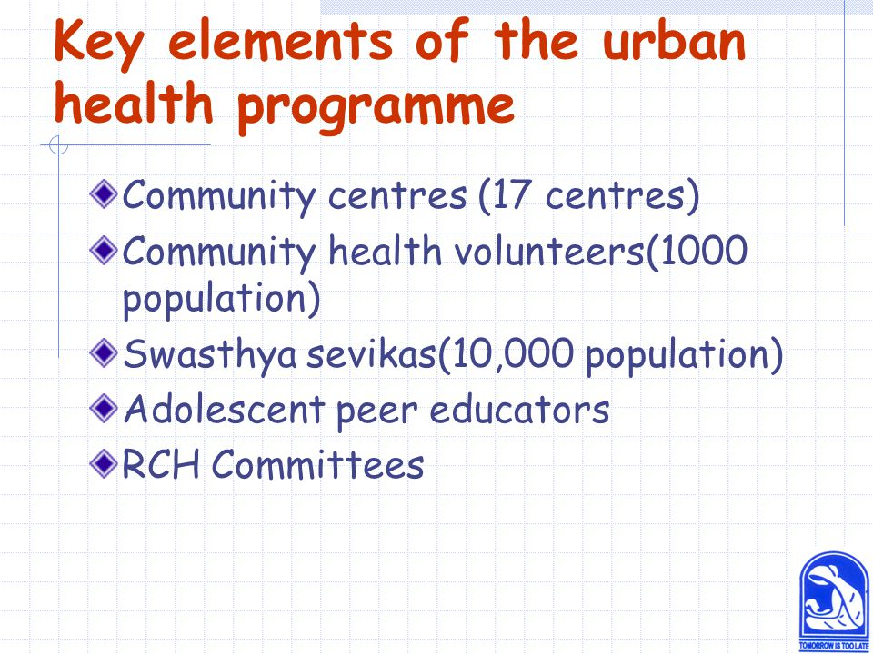 Key elements of the urban health programme Community centres (17 centres) Community health volunteers(1000 population) Swasthya sevikas(10,000 population) Adolescent peer educators RCH Committees