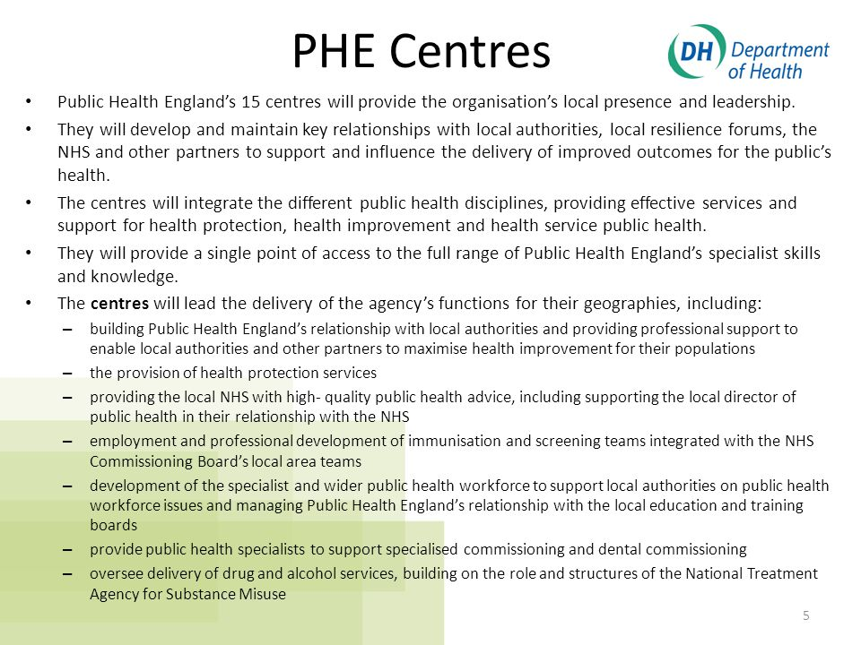 PHE local and regional support teams