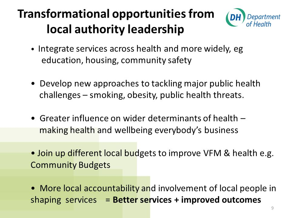 9 Integrate services across health and more widely, eg education, housing, community safety Develop new approaches to tackling major public health challenges – smoking, obesity, public health threats.