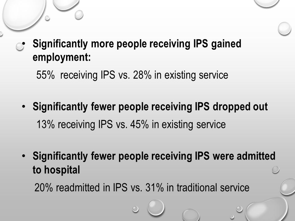 Significantly more people receiving IPS gained employment: 55% receiving IPS vs.
