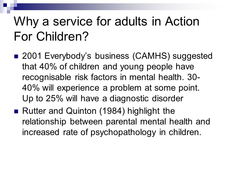 Why a service for adults in Action For Children.