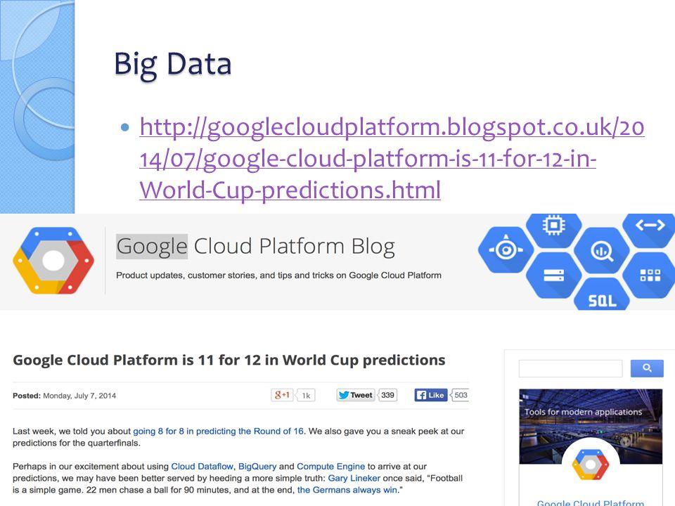 Big Data http://googlecloudplatform.blogspot.co.uk/20 14/07/google-cloud-platform-is-11-for-12-in- World-Cup-predictions.html http://googlecloudplatform.blogspot.co.uk/20 14/07/google-cloud-platform-is-11-for-12-in- World-Cup-predictions.html 52