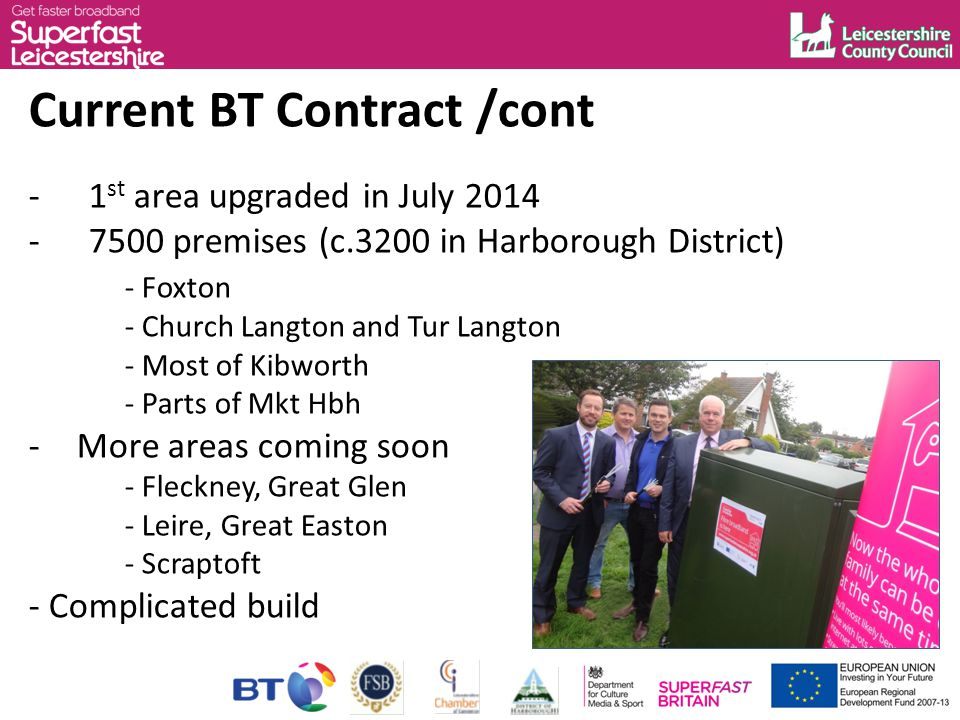 Current BT Contract /cont -1 st area upgraded in July 2014 -7500 premises (c.3200 in Harborough District) - Foxton - Church Langton and Tur Langton - Most of Kibworth - Parts of Mkt Hbh -More areas coming soon -Fleckney, Great Glen -Leire, Great Easton -Scraptoft - Complicated build