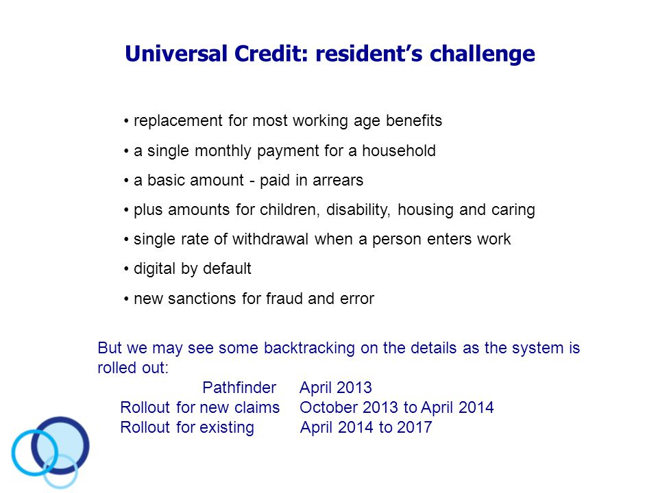 Universal Credit: resident's challenge replacement for most working age benefits a single monthly payment for a household a basic amount - paid in arr