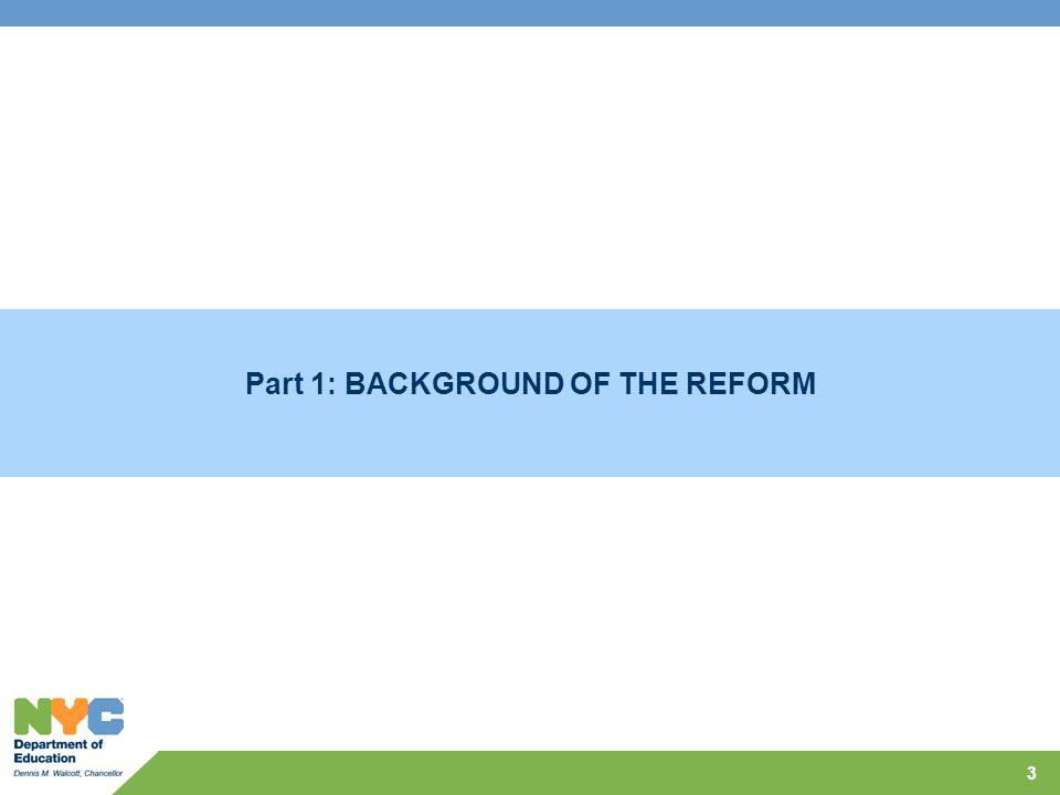 Part 1: BACKGROUND OF THE REFORM 3