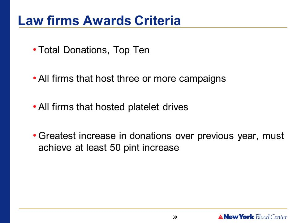 30 Law firms Awards Criteria Total Donations, Top Ten All firms that host three or more campaigns All firms that hosted platelet drives Greatest increase in donations over previous year, must achieve at least 50 pint increase