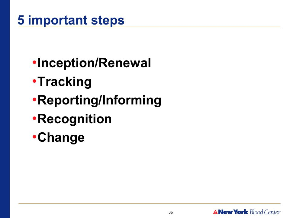 36 5 important steps Inception/Renewal Tracking Reporting/Informing Recognition Change