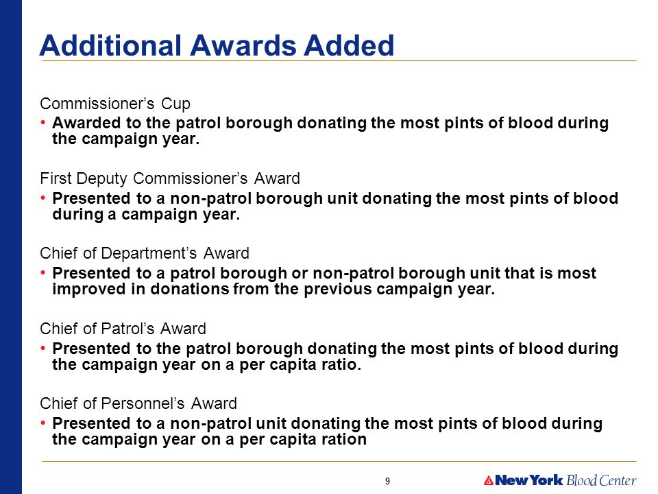 9 Additional Awards Added Commissioner's Cup Awarded to the patrol borough donating the most pints of blood during the campaign year.