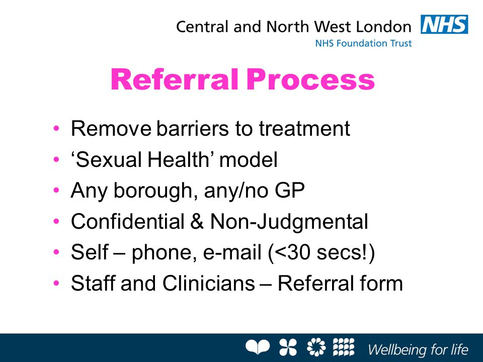 Remove barriers to treatment 'Sexual Health' model Any borough, any/no GP Confidential & Non-Judgmental Self – phone, e-mail (<30 secs!) Staff and Cli
