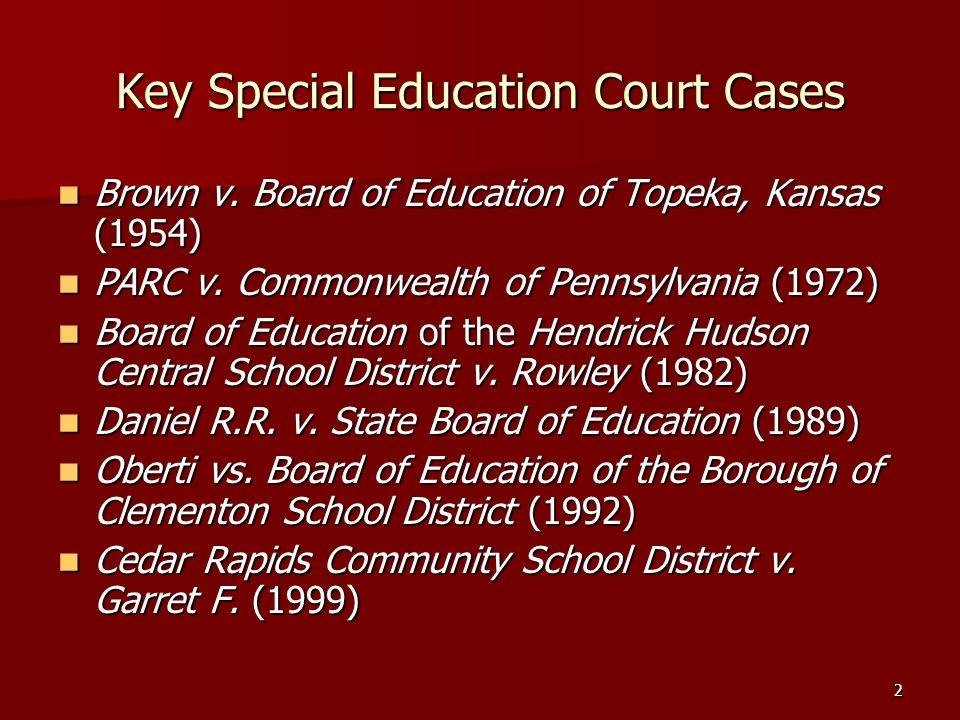 2 Key Special Education Court Cases Brown v.Board of Education of Topeka, Kansas (1954) Brown v.