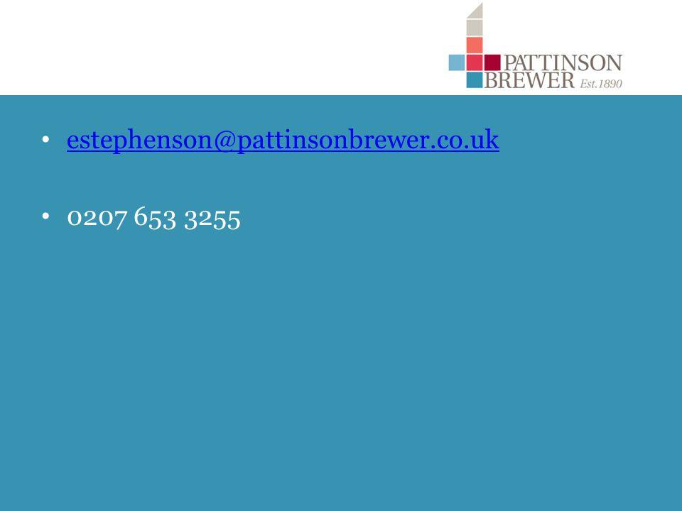 estephenson@pattinsonbrewer.co.uk 0207 653 3255
