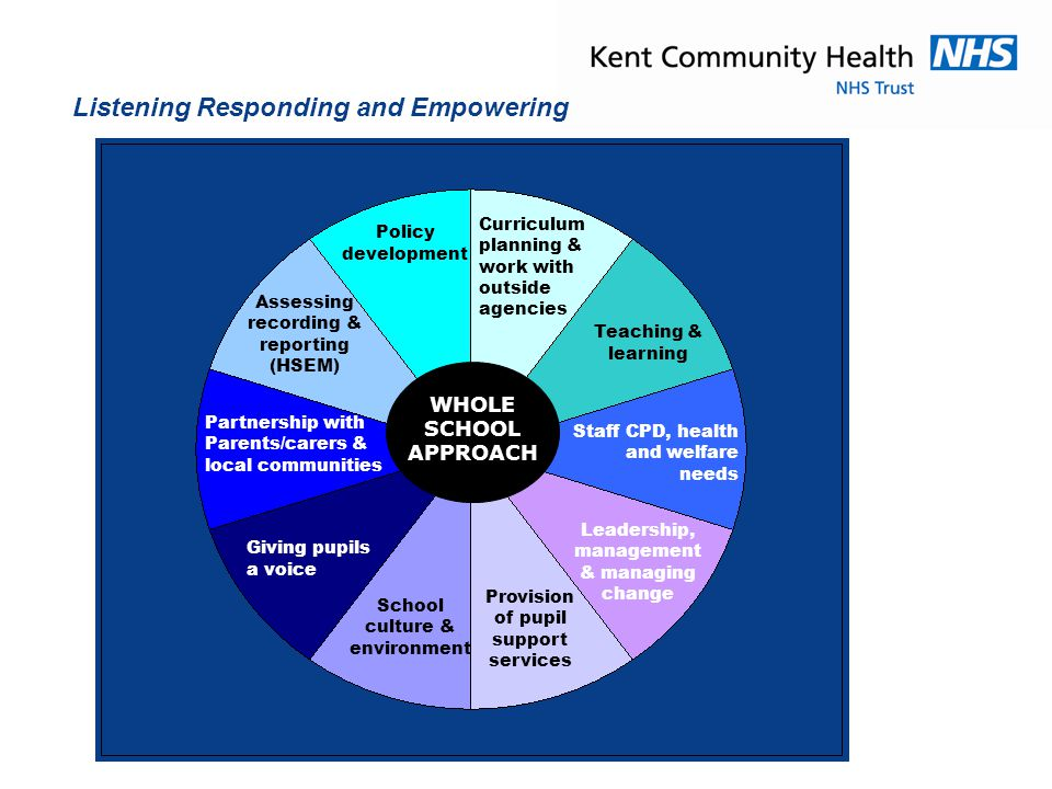 'Mind The Gap'; KCC Inequalities Plan 2012-2015 Marmot' life course approach to PH Outcomes Framework:  Healthy Weight Yr R, Yr 6  U 18 Conceptions  Smoking prevalence 15 years  Harmful effects of alcohol misuse  Targeted focus on young people who have complex or multiple needs 'Time to Change' will enhance local healthy school partnerships promoting 'No Health Without Mental Health';  Schools, young people, parent/carers  Health Providers  Alternative Curriculum Providers  Youth and Community Groups  LA and Borough Council Services  Voluntary Sector Agencies  Business and commercial sector  Local forums and action groups Leading Through Partnerships