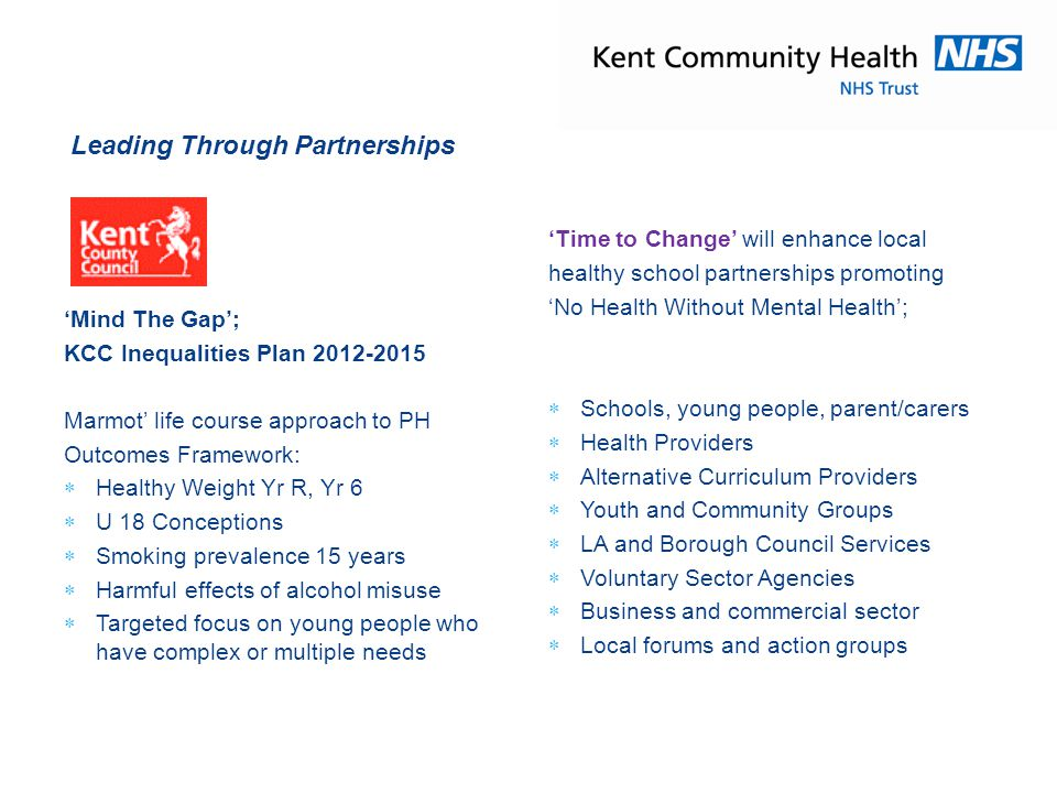 'Time to Change' complements the key principles of Kent's Healthy School Enhancement model ;  Data led  Founded on national guidance,  Evidence based practice  Promotes local initiatives  Builds capacity  Increases the knowledge bank Learning Sharing and Innovating