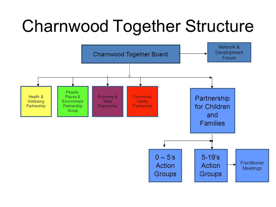 Charnwood Together Structure Charnwood Together Board Health & Wellbeing Partnership People, Places & Environment Partnership Group Community Safety P
