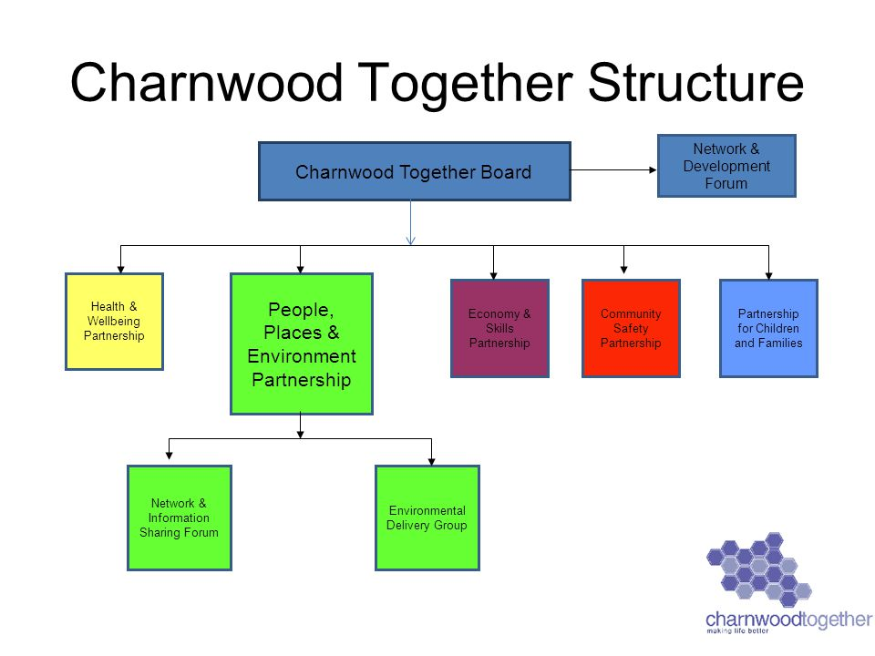 Charnwood Together Structure Charnwood Together Board Health & Wellbeing Partnership People, Places & Environment Partnership Community Safety Partnership Partnership for Children and Families Economy & Skills Partnership Network & Development Forum Network & Information Sharing Forum Environmental Delivery Group