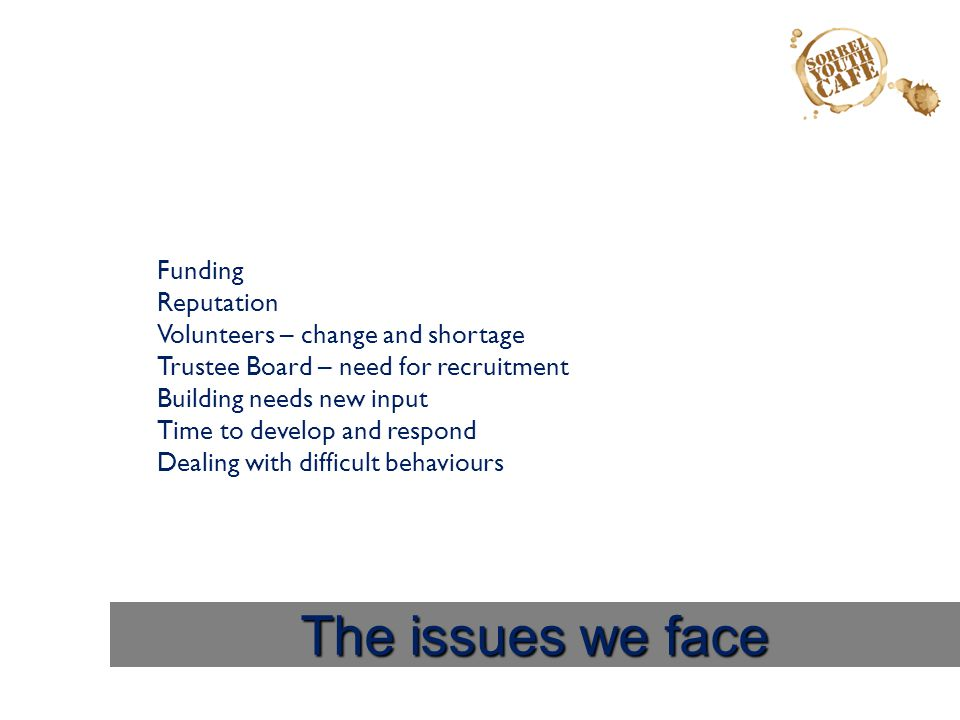 The issues we face Funding Reputation Volunteers – change and shortage Trustee Board – need for recruitment Building needs new input Time to develop a