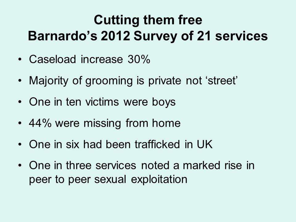 Cutting them free Barnardo's 2012 Survey of 21 services Caseload increase 30% Majority of grooming is private not 'street' One in ten victims were boy