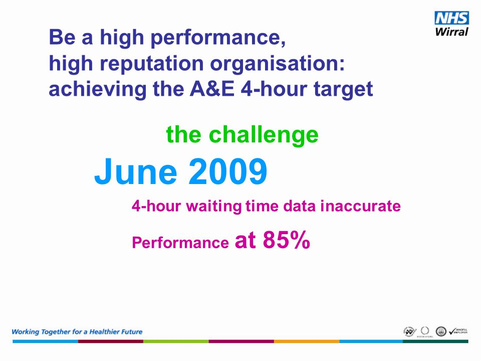 Be a high performance, high reputation organisation: achieving the A&E 4-hour target 4-hour waiting time data inaccurate June 2009 Performance at 85% the challenge