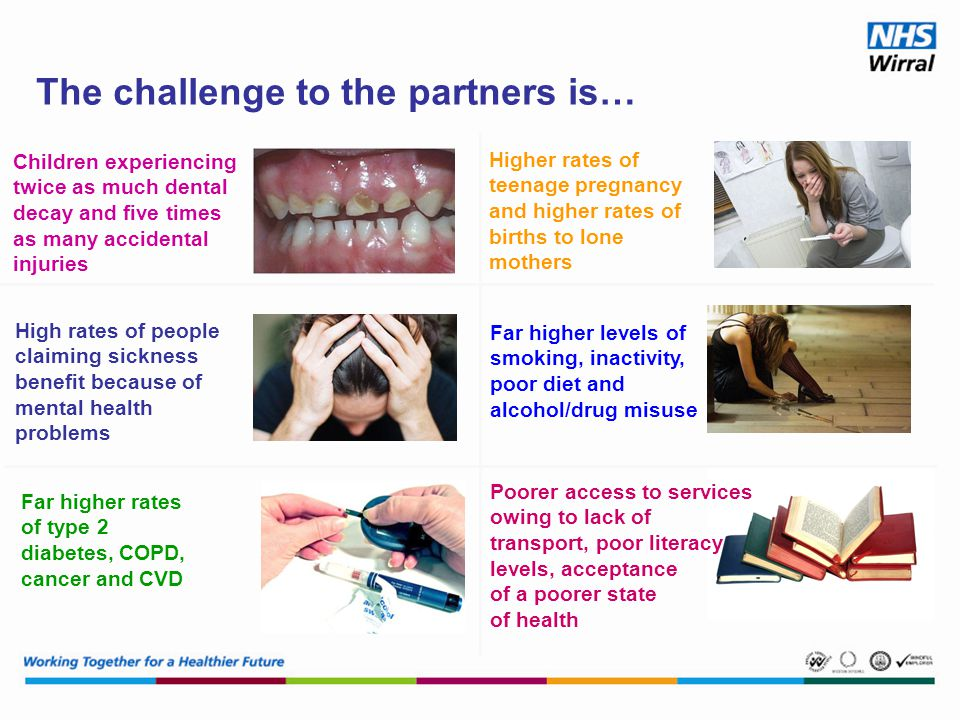 The challenge to the partners is… Children experiencing twice as much dental decay and five times as many accidental injuries High rates of people claiming sickness benefit because of mental health problems Far higher rates of type 2 diabetes, COPD, cancer and CVD Higher rates of teenage pregnancy and higher rates of births to lone mothers Far higher levels of smoking, inactivity, poor diet and alcohol/drug misuse Poorer access to services owing to lack of transport, poor literacy levels, acceptance of a poorer state of health