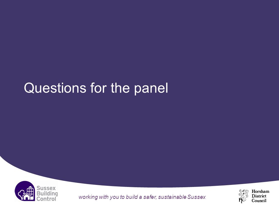 working with you to build a safer, sustainable Sussex Questions for the panel