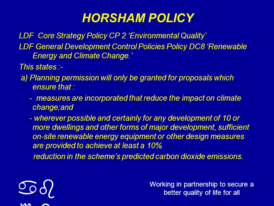 working with you to build a safer, sustainable Sussex Mandatory elements Mat 1 – Environmental Impact of Materials Sur 1 – Surface Water Run-off Was 1 – Household Waste Storage Was 2 – Site Waste Management Ene 1 – Dwelling Emission Rate Wat 1 – Internal Water Use