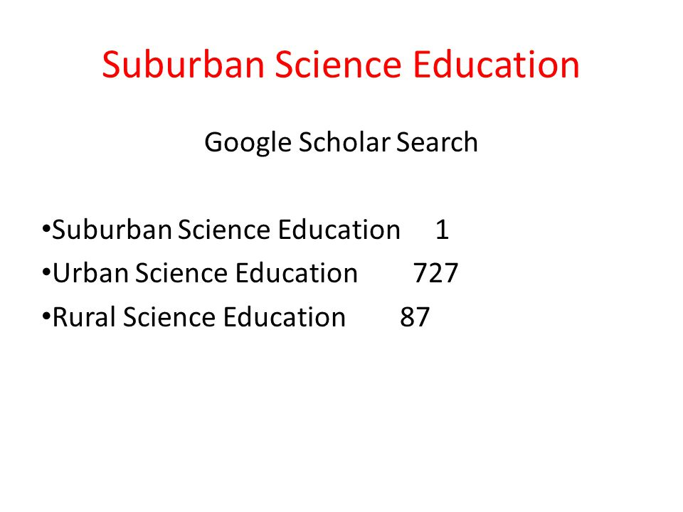 Suburban Science Education Google Scholar Search Suburban Science Education 1 Urban Science Education 727 Rural Science Education 87