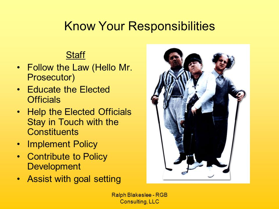 Ralph Blakeslee - RGB Consulting, LLC Know Your Responsibilities Staff Follow the Law (Hello Mr.
