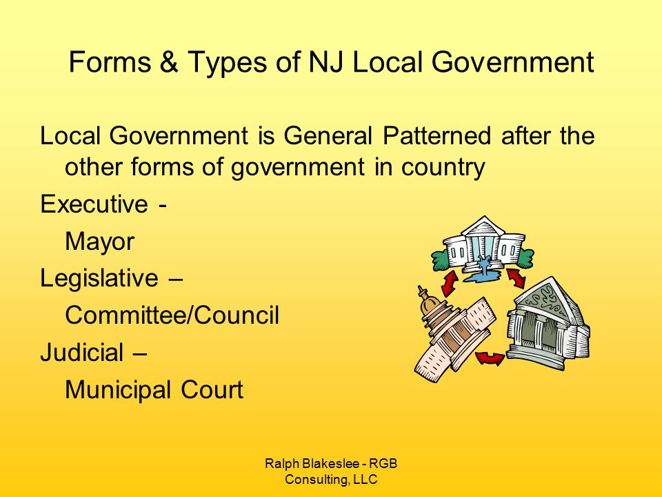Forms & Types of NJ Local Government Local Government is General Patterned after the other forms of government in country Executive - Mayor Legislative – Committee/Council Judicial – Municipal Court