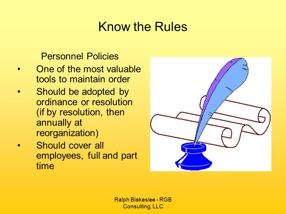 Ralph Blakeslee - RGB Consulting, LLC Personnel Policies True or False.